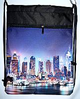 Детский розовый рюкзак - затяжка для мальчика Ночной Город 34*43, фото 1