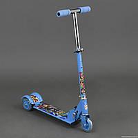 """Самокат 3206 / 779-52 голубой """"Супергерои"""" (8) 3 колеса PVC , свет, d-9.5см., металлический"""