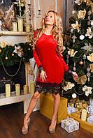 Женское красивое платье с кружевом ткань бархат-велюр с рукавом красное, фото 1