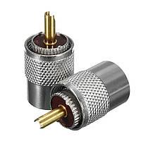 2Pcs Металл UHF PL-259 Мужской Припой RF Коннектор Штекер для коаксиального кабеля RG8 Коннектор