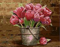 Картина по номерам (40х50см) Букет розовых тюльпанов