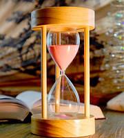 Песочные часы розовый песок 15 минут (10х10х18,5 см)