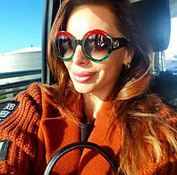 Очки круглые женские солнцезащитные Gucci цветные 0084 с1