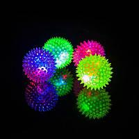 Squeaky Pet Toy Rubber Светодиодный Up Spike Ball Pet Собака Кот Игрушка