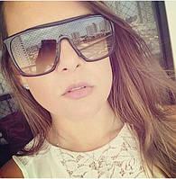 Квадратные женские очки солнцезащитные Fendi черные с леопардовым