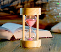 Песочные часы розовый песок 5 минут (6х6х11 см)
