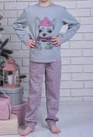 Детскаятеплая пижама с собакой Чихуа длинный рукав зимняя трикотажный комплект детский