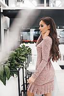 Красивое платье с плиссированным низом 4 цвета