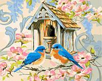 Раскраска по номерам (40х50см) Птичкин дом