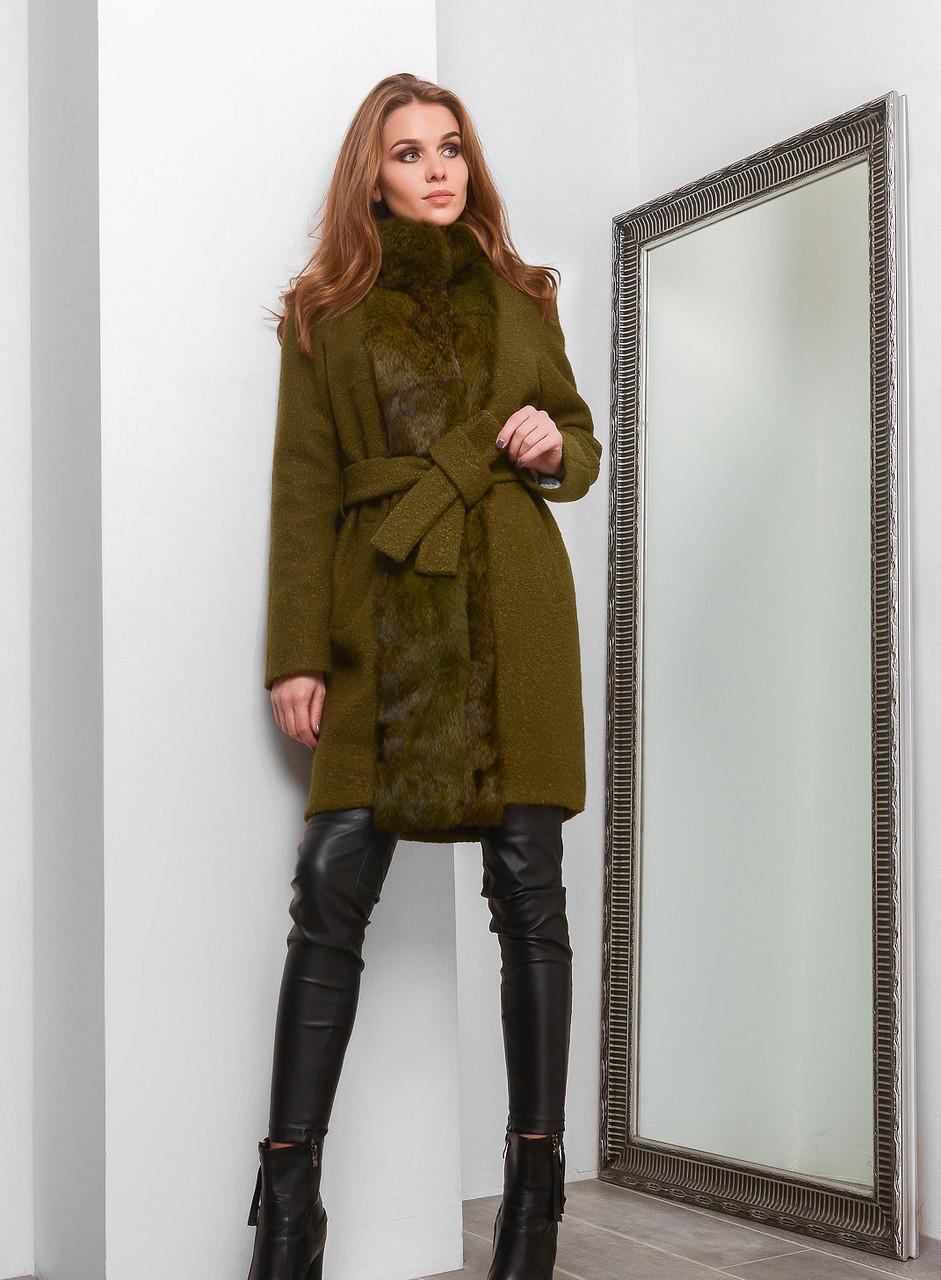 8117b5a53b8 СуперЭлегантное Зимнее Пальто с Натуральным Мехом под Пояс Оливковое -  Ukraine In Trend - 100%