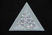 Стразы стекло Crystal AB (хамелеон), микс размеров 4-12, 120шт