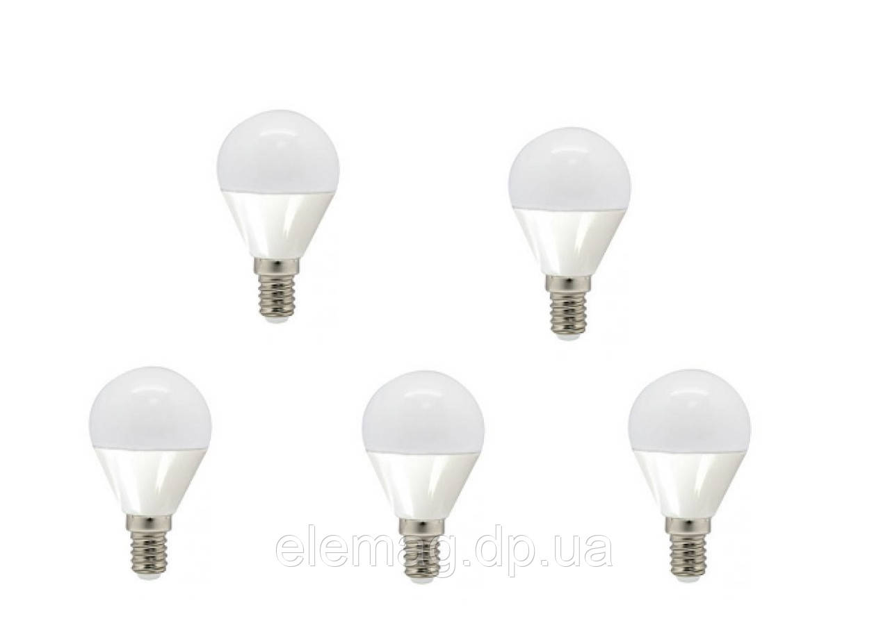 LED 7W  Набор светодиодных ламп Feron шар Е14 4000К-5 штук