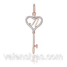 Серебряная подвеска с позолотой - ключ с буквой Л П3Ф/144