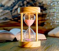 Песочные часы розовый песок 10 минут (8х8х14 см)