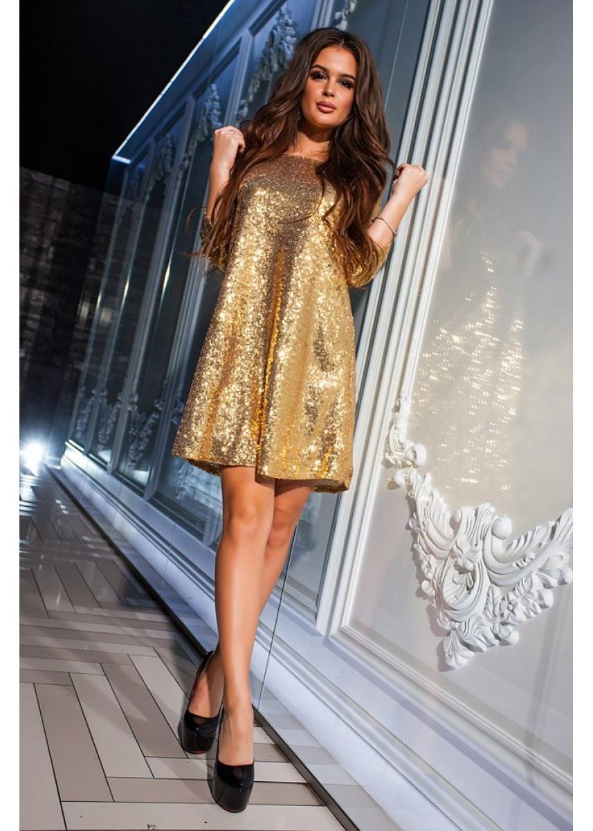 К555 Коктейльное  платье в пайетках  (размеры 42-50)
