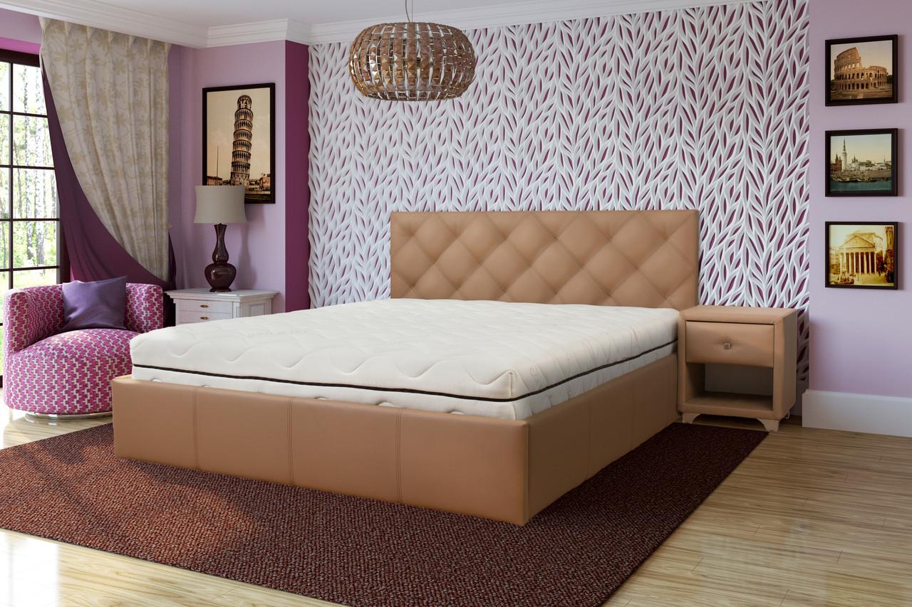 Бежевая мягкая кровать Лира Come-for
