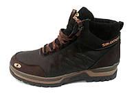 Ботинки мужские Salomon кожа/замша зимние коричневые 0005САЛ