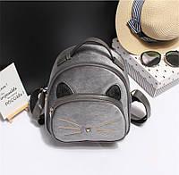 Рюкзак женский бархатный Кот с меховыми ушками (серый), фото 1