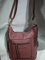 Практичная дамская сумка из качественного кож.заменителя.Розовая.