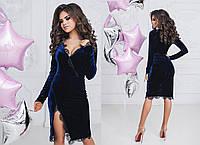 Женское красивое платье с разрезом ткань бархат+французское кружево синее ab4acf755d3