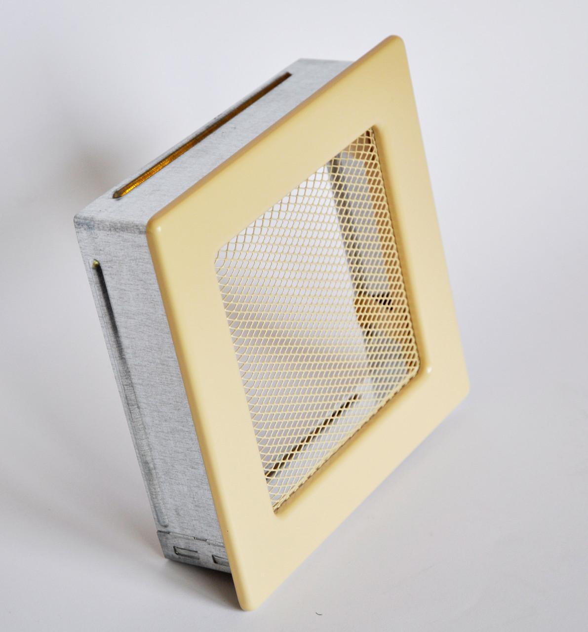 Решетка каминная 17х17 кремовая, вентиляционная для камина, декоративная