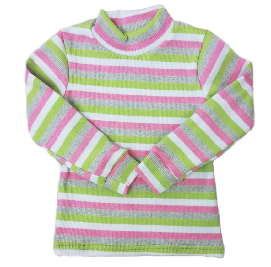 """Гольф яселька в рубчик """"Полоска"""", цвет: розовый-зеленый, рост 86"""