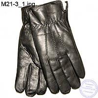 Мужские кожаные зимние перчатки с натуральным мехом - M21-3
