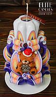 Новогодний подарок, резная свеча украшена мишкой, ручной работы