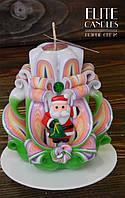 Новогодний подарок - резная свеча с дедом морозом, ручная работа, красиво горит и украшает интерьер