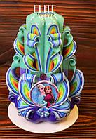 Свеча ручной работы, красиво украшена табличкой с картинкой снеговика, фото 1