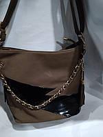 Практичная дамская сумка из качественного кож.заменителя.Шоколад.