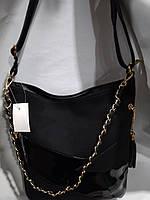 Практичная дамская сумка из качественного кож.заменителя.Черная.