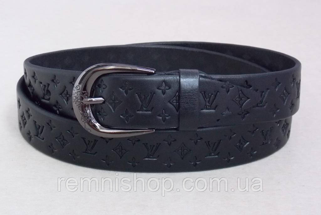 Черный женский кожаный ремень Louis Vuitton