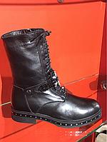 Кожанный ботинок на низком ходу всредине цигейка фирма Aguamarin ,Турция