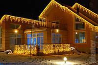 Світлодіодна гірлянда-бахрома 3*0.65*0.5 м. на 120 LED, жовтого (золотого) та білого кольору, фото 1