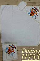 """Детское  белое махровое полотенце для  купаниядля новорождённых """" Пчелка  """" с капюшоно"""
