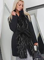 Эффектное Зимнее Пальто с Шикарным Мехом под Пояс Черное