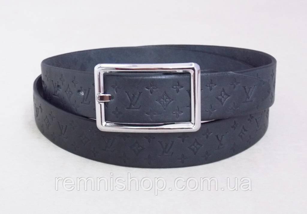 Женский кожаный серый ремень Louis Vuitton