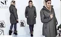 Универсальное стеганное женское пальто,батал р.50,52,54  ST Style