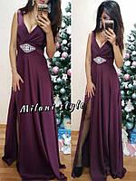 Шелковое платье 48- макси с разрезом