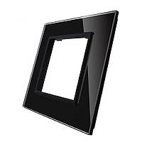 7eab4dd94797 Рамка для розетки Livolo 1 пост, цвет черны, материал стекло (VL-C7