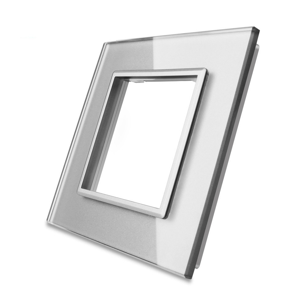 Рамка для розетки Livolo 1 пост, цвет серый, материал стекло (VL-C7-SR-15), фото 1