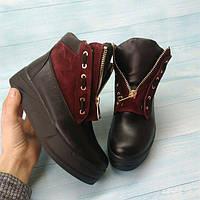 Ботинки женские Allure кожа/замша осень-весна/зима коричневые 0120АЛМ
