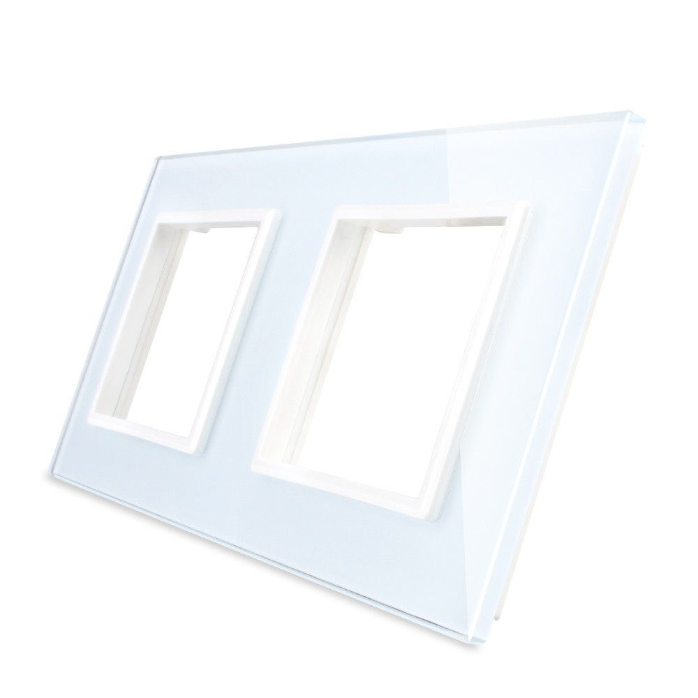 Рамка для розетки Livolo 2 поста, цвет белый, стекло (VL-C7-SR/SR-11), фото 1