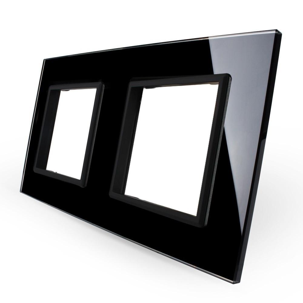 Рамка для розетки Livolo 2 поста, цвет черный, стекло (VL-C7-SR/SR-12), фото 1