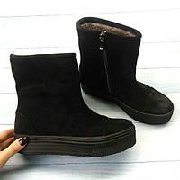 Ботинки женские Allure замша осень-весна/зима черные 0122АЛМ