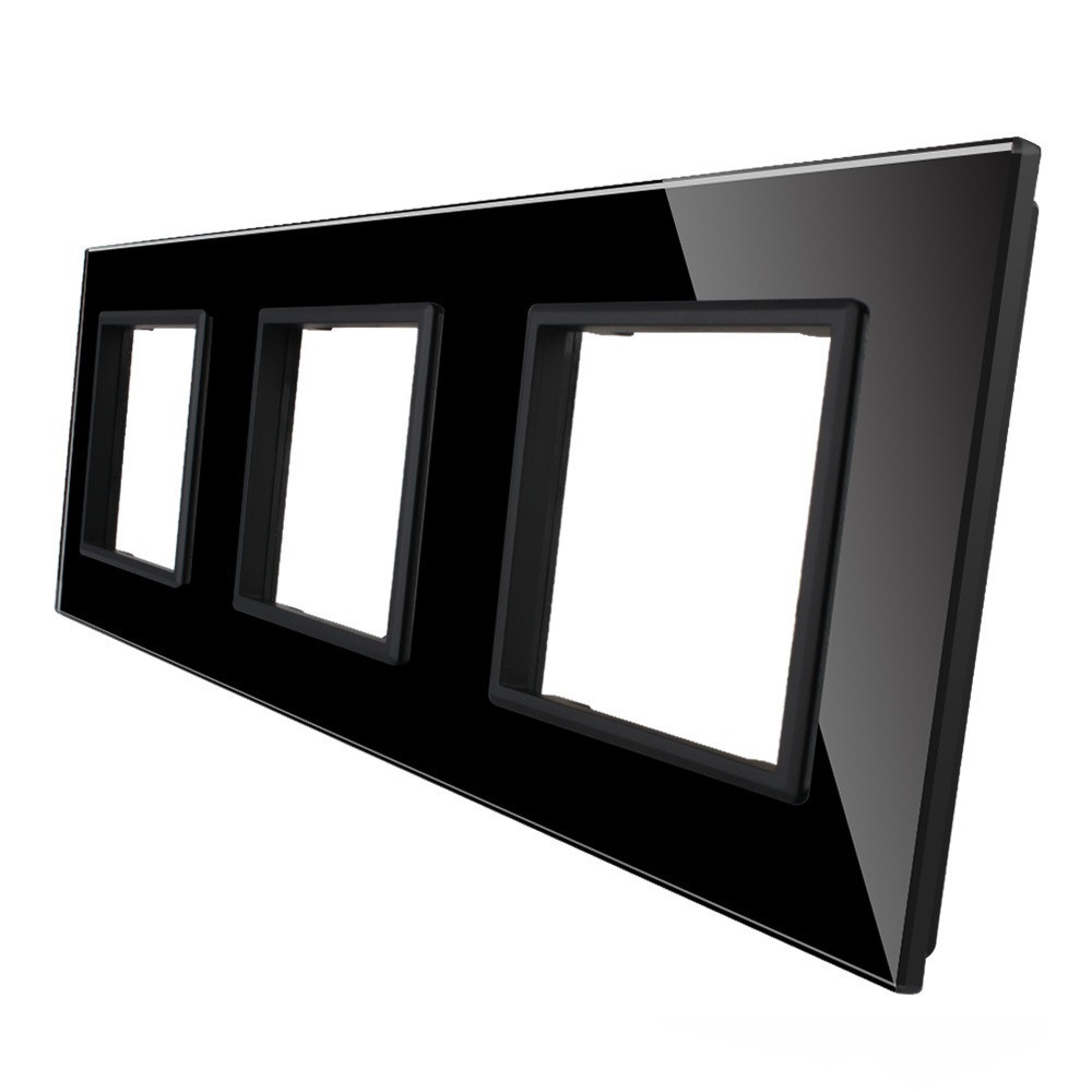 Рамка для розетки Livolo 3 поста, цвет черный, стекло (VL-C7-SR/SR/SR-12), фото 1