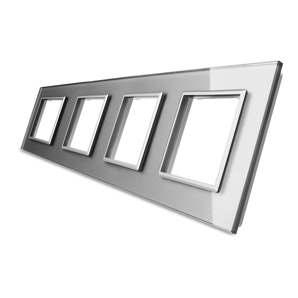 Рамка для розетки Livolo 4 поста, цвет серый, стекло (VL-C7-SR/SR/SR/SR-15), фото 1