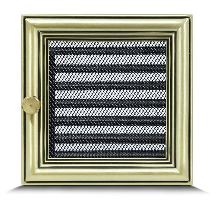 Решетка каминная 17х17 ретро c жалюзи, вентиляционная для камина, декоративная