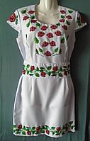 """Плаття - вишиванка """"Троянди з бісеру"""" на білому габардині розмір М"""